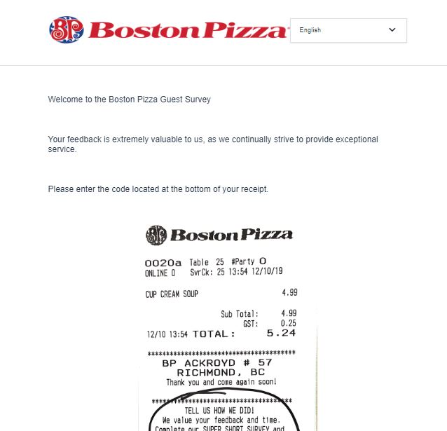 Boston Pizza Survey 1