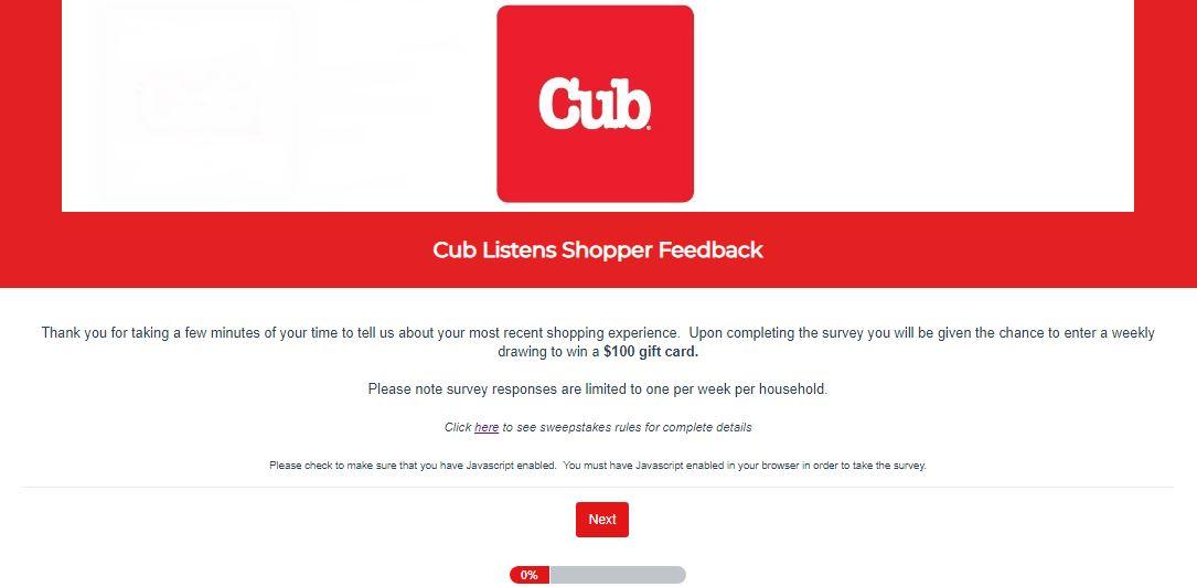 Cub Foods Survey 1