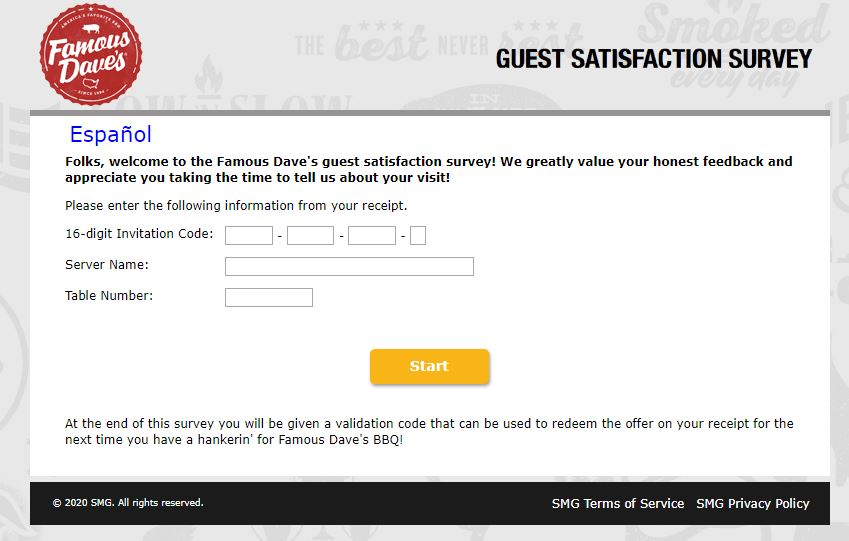 Famous Daves Feedback Survey