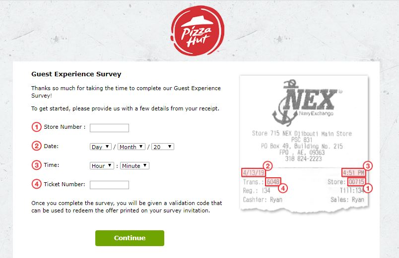 Pizza Hut Guest Experience Survey