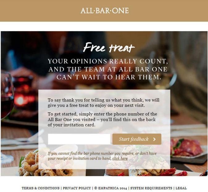All Bar One Survey