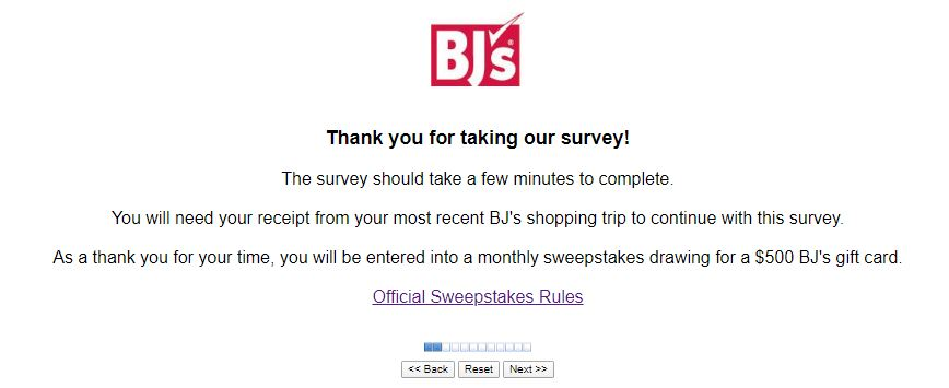 BJ's Monthly Survey
