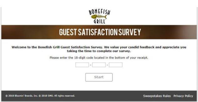 Bonefish Grill Survey 1