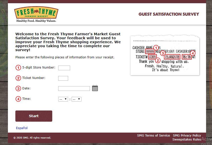 Fresh Thyme Farmer's Market Survey