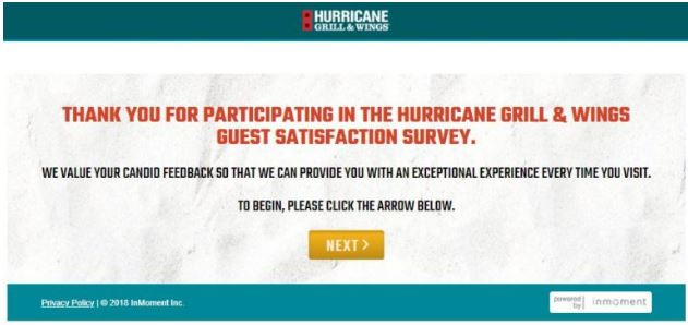 Hurricane Grill & Wings Survey 1