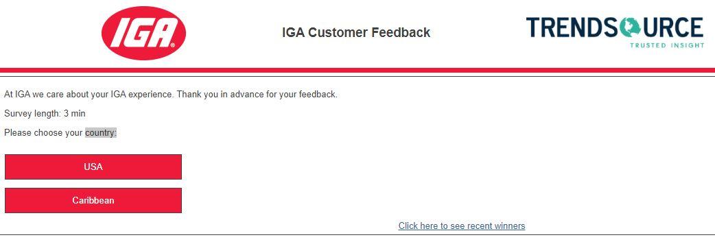 IGA Store Feedback Survey 1