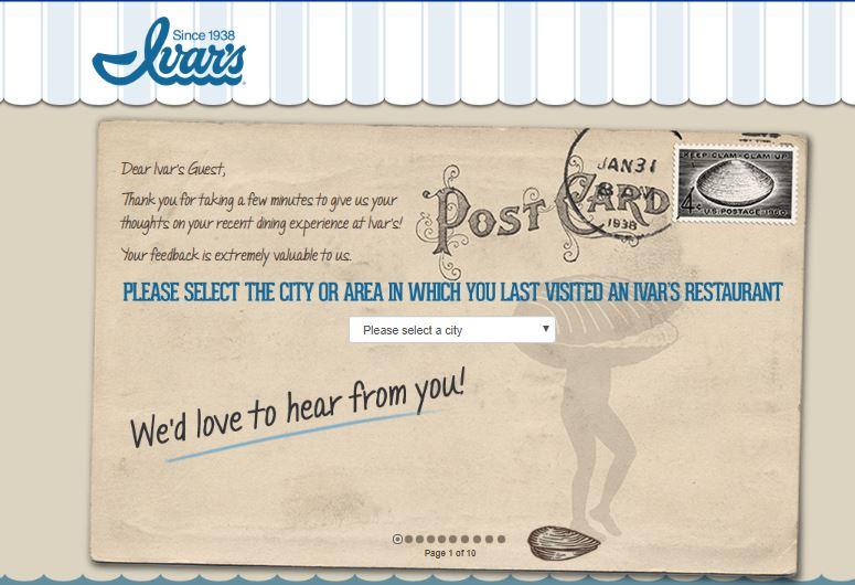 Ivar's Restaurants Survey 1