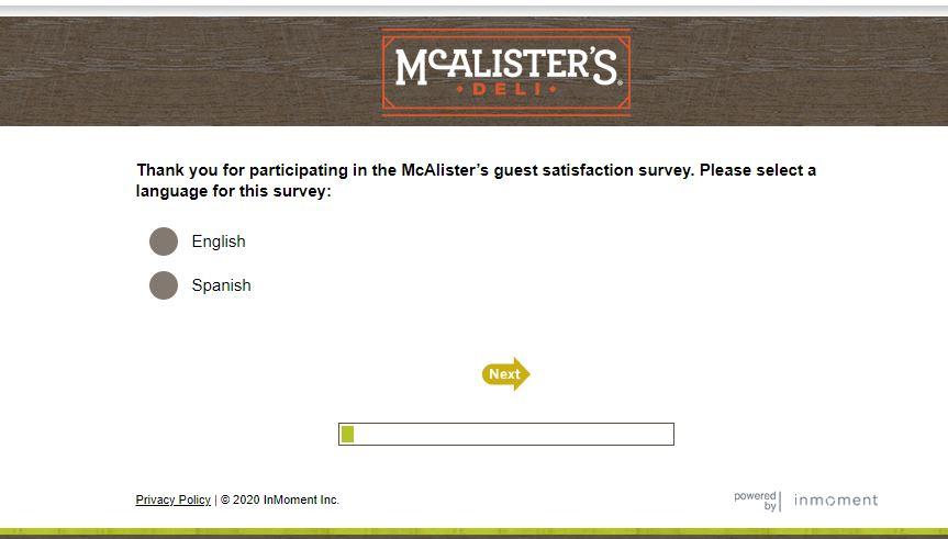 McAlister's Deli Survey 1