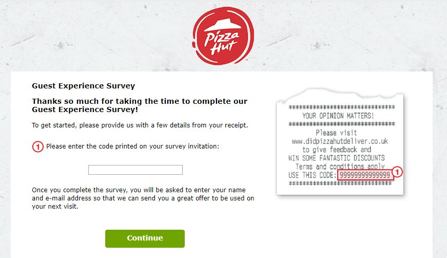 Pizza Hut Great Britain Guest Experience Survey