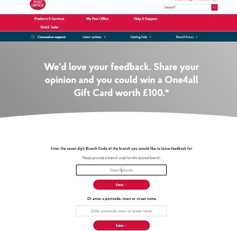 Post Office Tell Us Survey