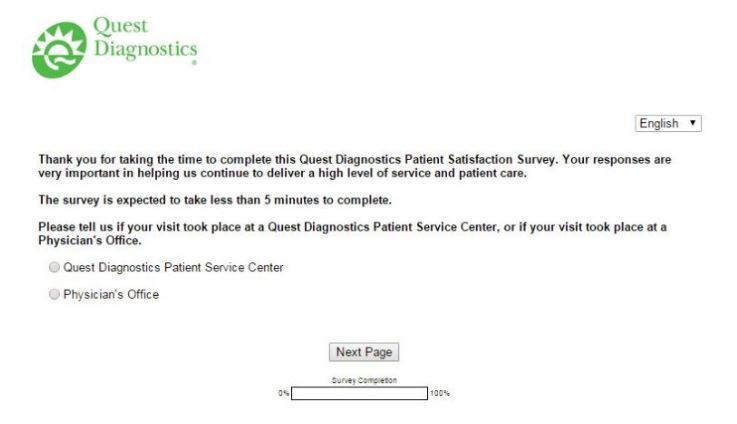 Quest Diagnostics Survey 1