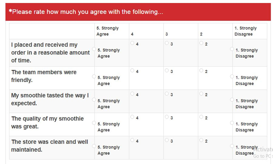 Smoothie King Feedback 2