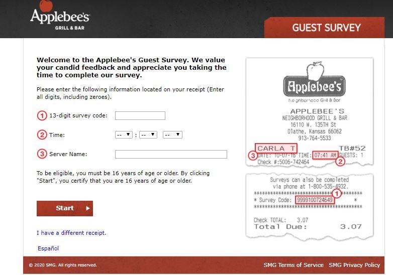 Talk To Applebees Survey