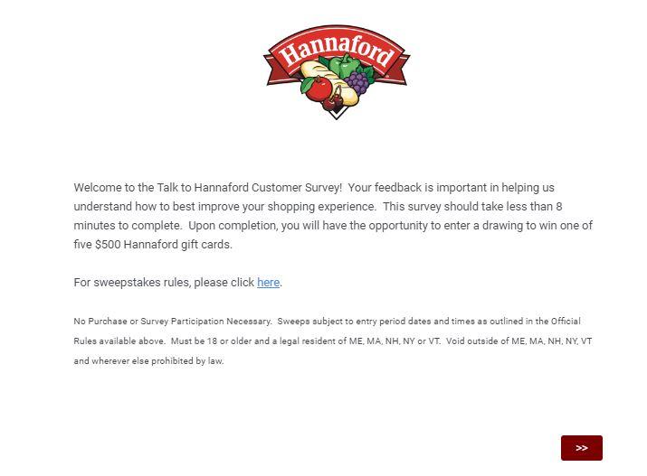 Talk to Hannaford Survey 1