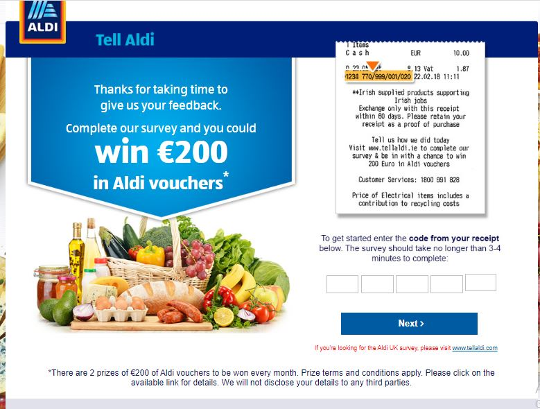 Tell Aldi Ireland Survey