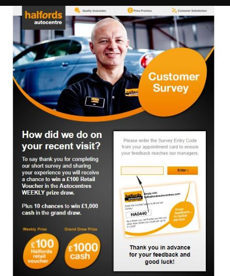 Tell Halfords Auto Centers Survey