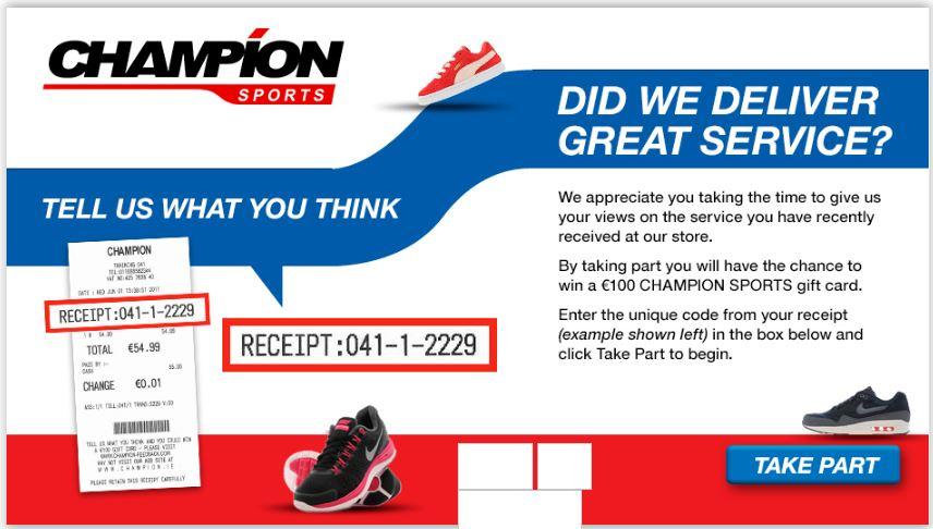 Champion Sports Feedback Survey steps