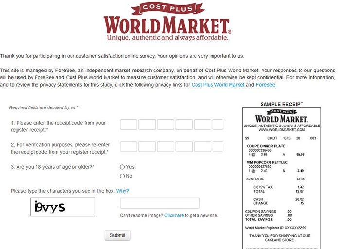 Cost Plus World Market Survey