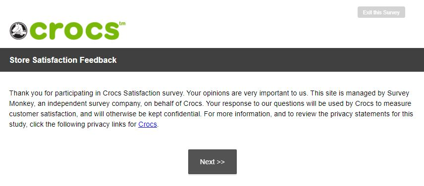 Crocs Feedback Survey