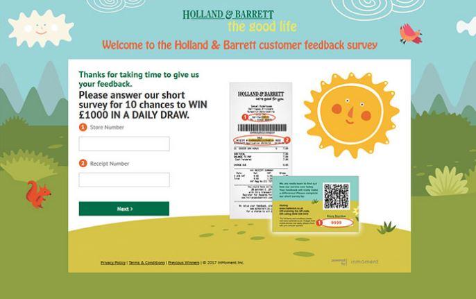 Holland & Barret Survey Prizes