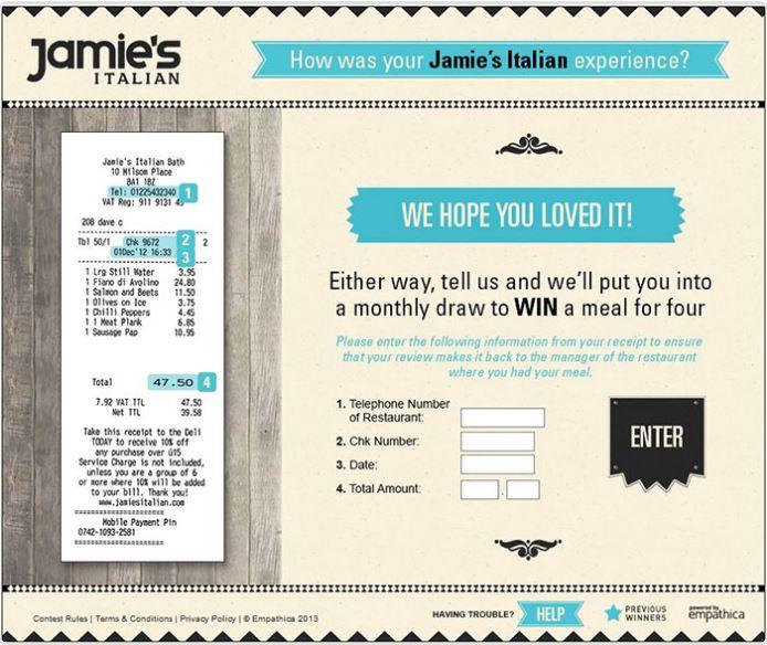 Jamies Italian Customer Feedback Survey