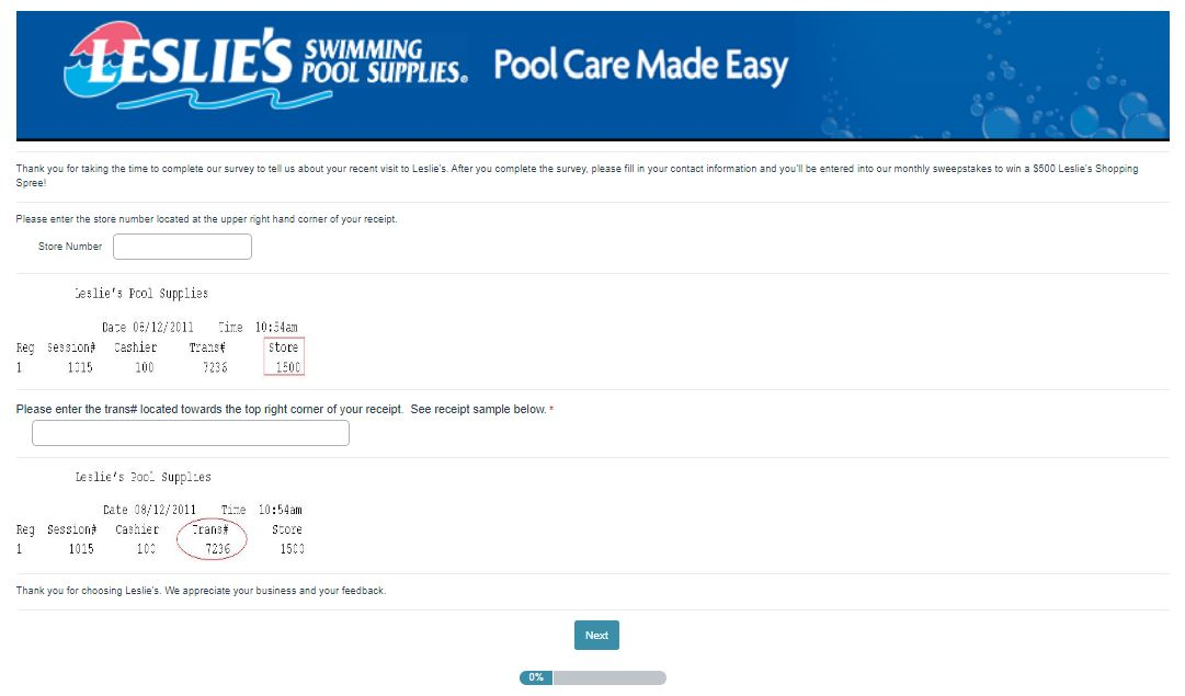 Leslie's Poolmart Survey