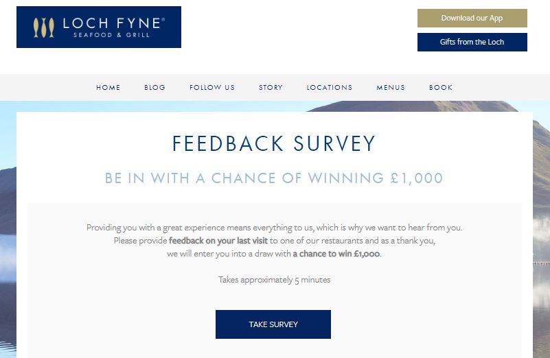 LochFyneseafoodandgrill Feedback Survey