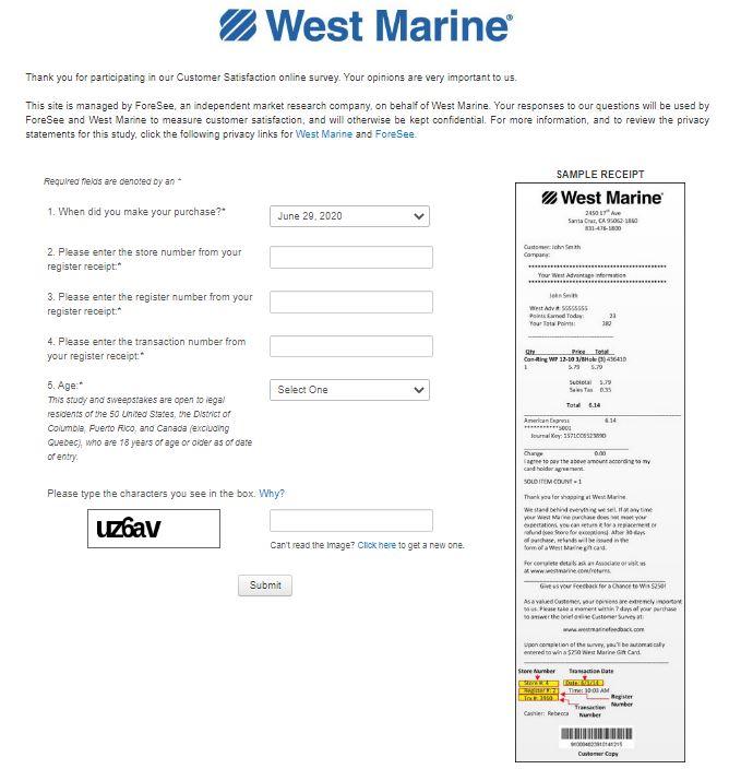 West Marine feedback Survey