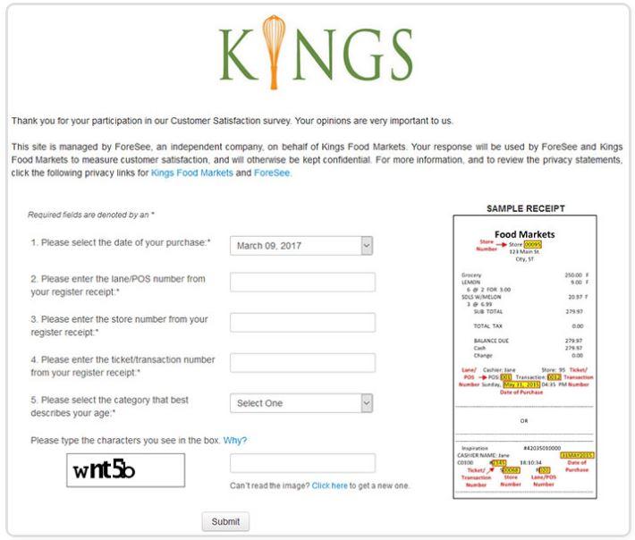 Kings Food Markets Survey
