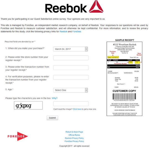 Reebok feedback Survey